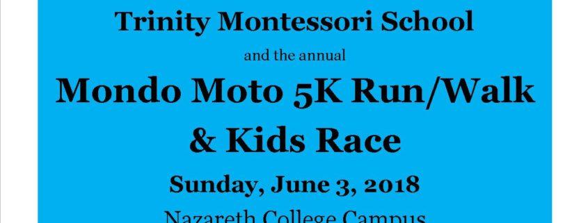 Trinity Montessori School's Mondo Moto 5K Run/Walk & Kids Race